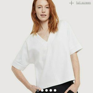 Kit & Ace White West Coast Fit V-Neck Cropped Top
